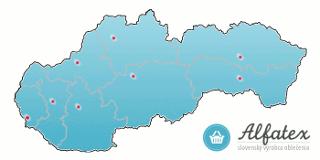 Mapa Slovenska - predajne výrobkov Alfatex